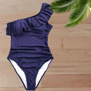 NWT/ NAVY RUFFLE ONE SHOULDER ONE PIECE SWIMSUIT